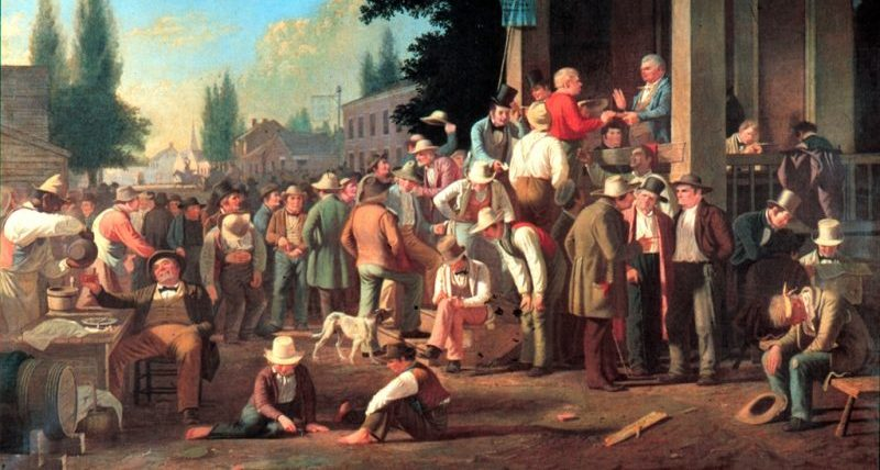 Painting of a county election from 1846: a cynical depiction of American democracy