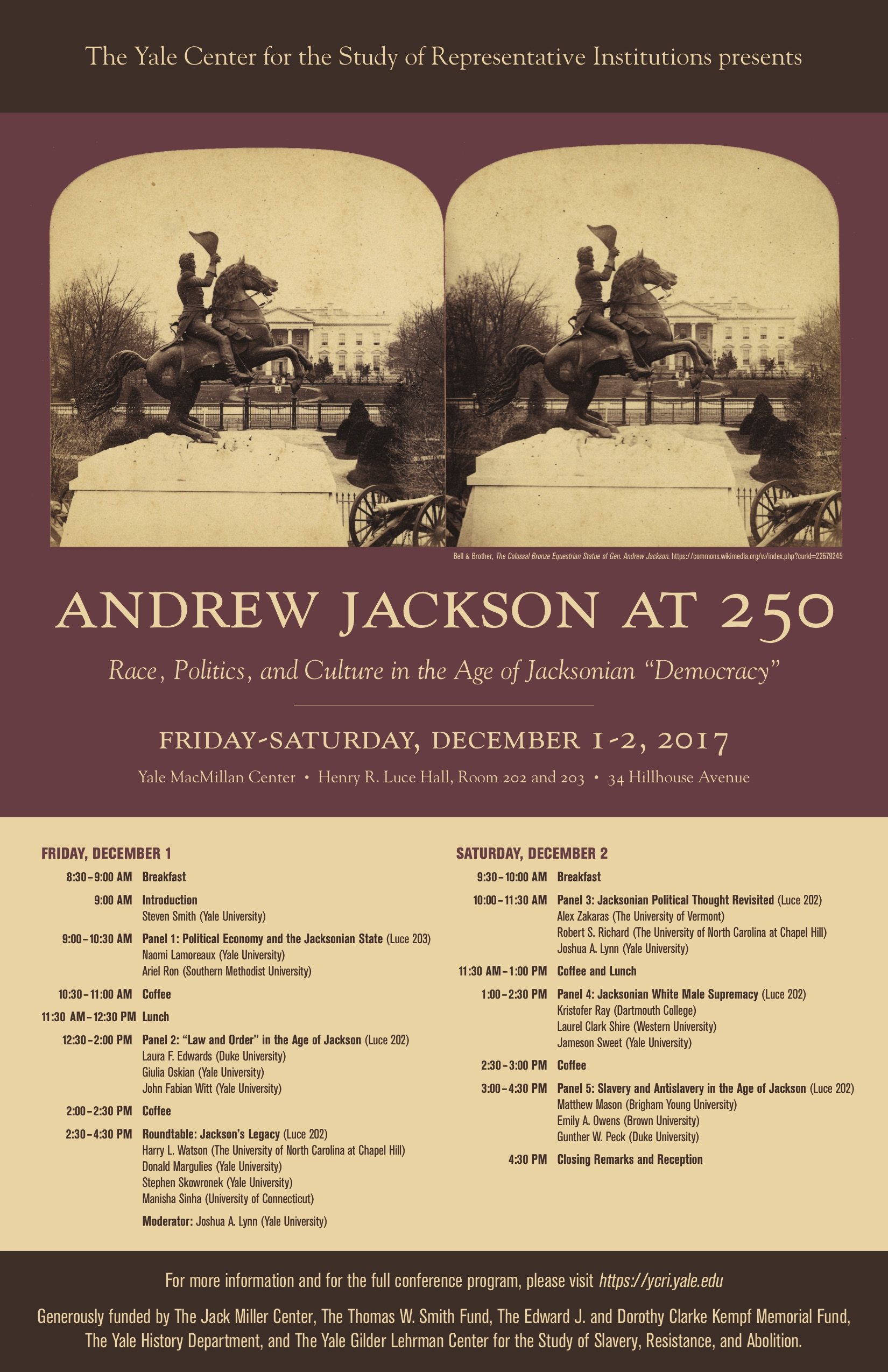 Andrew Jackson at 250: Yale Conference Flyer