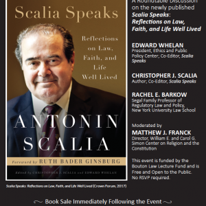 Poster of Scalia Speaks event at Princeton
