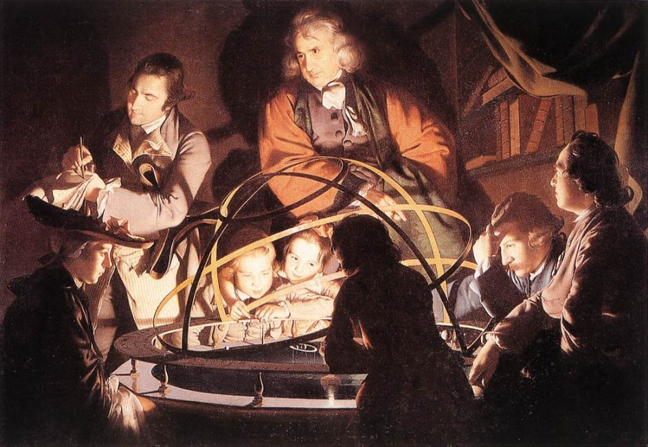Joseph Wright painting: A Philosopher Lecturing with a Mechanical Planetary