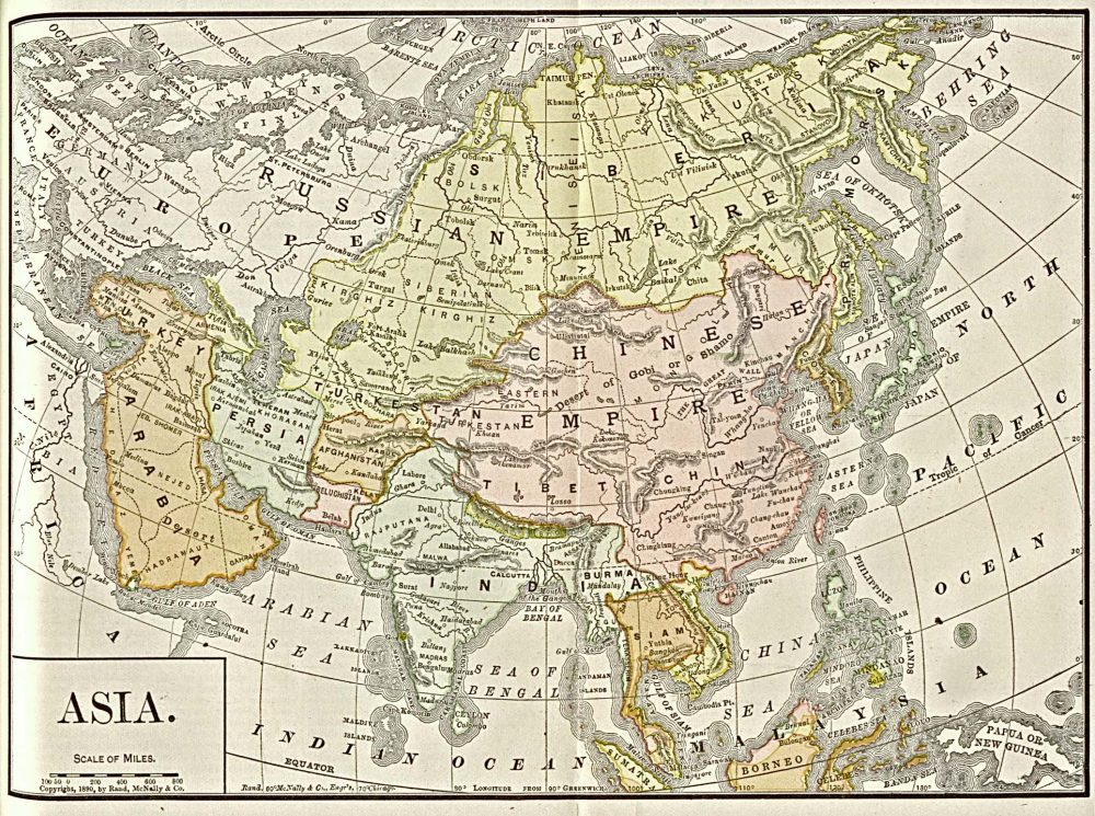 1892 Map of Asia