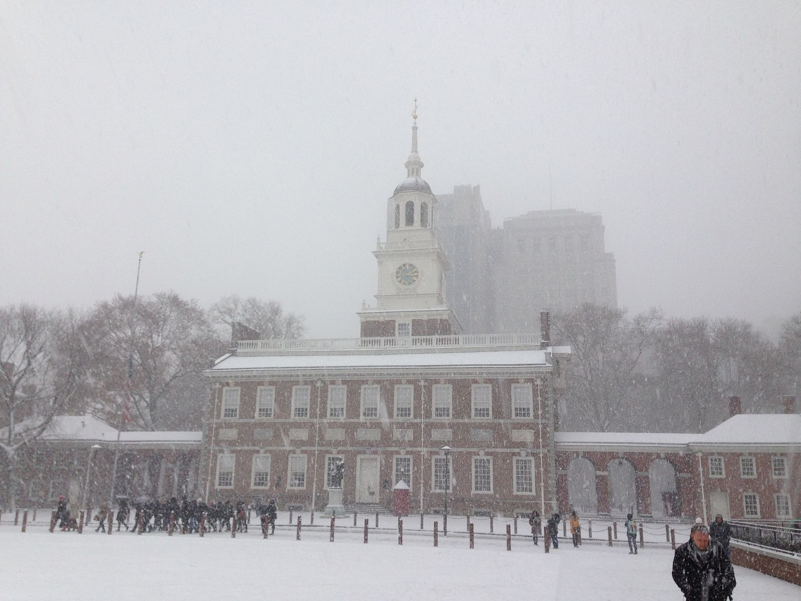 Independence Hall with snow